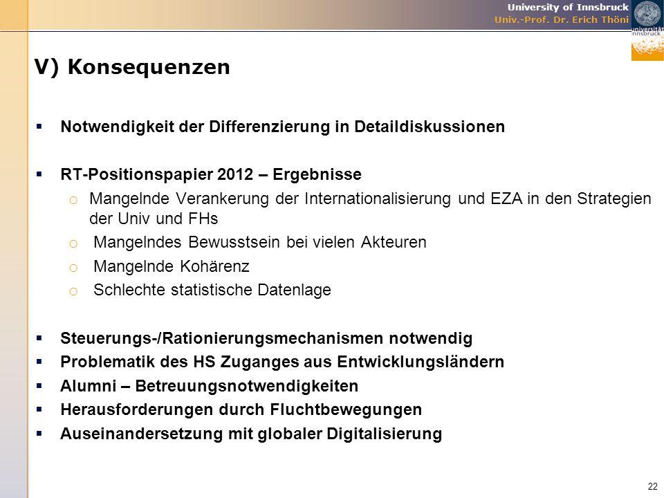 University of Innsbruck Univ.-Prof. Dr. Erich Thöni V) Konsequenzen  Notwendigkeit der Differenzierung in Detaildiskussionen  RT-Positionspapier 201