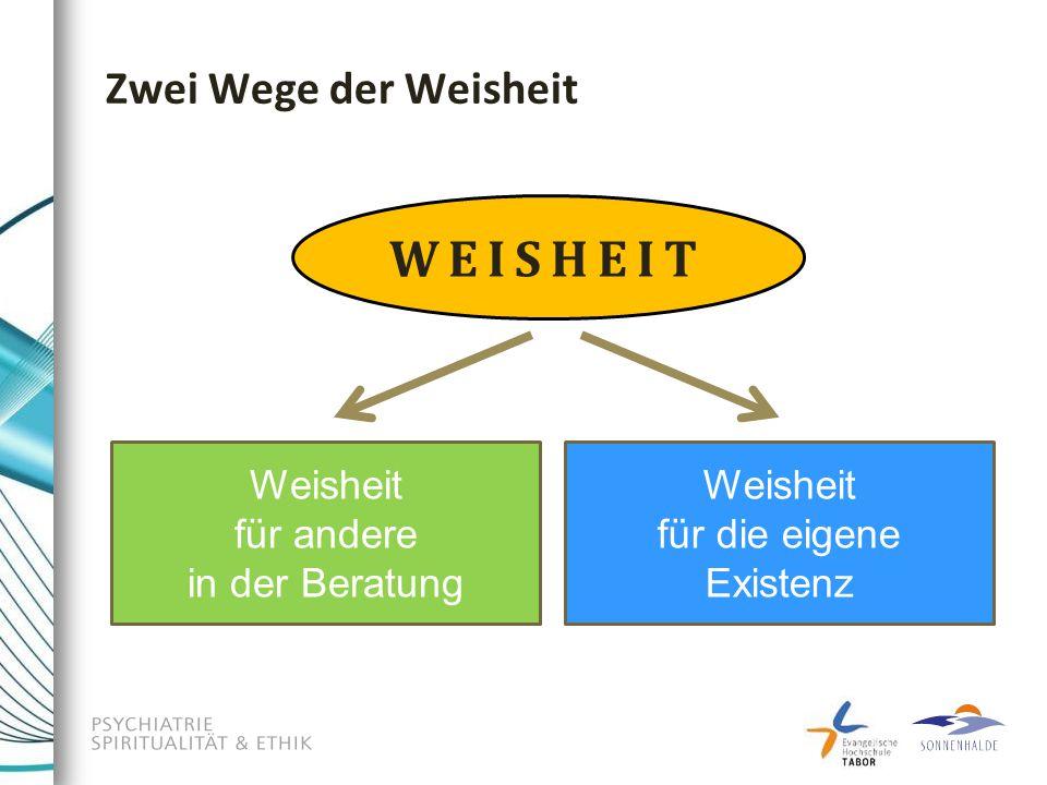 Zwei Wege der Weisheit Weisheit für andere in der Beratung Weisheit für die eigene Existenz WEISHEIT