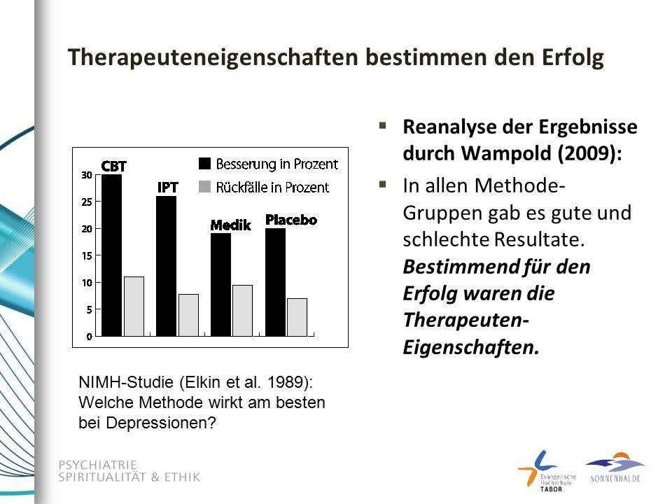 Therapeuteneigenschaften bestimmen den Erfolg  Reanalyse der Ergebnisse durch Wampold (2009):  In allen Methode- Gruppen gab es gute und schlechte Resultate.