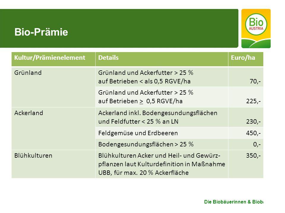 Die Biobäuerinnen & Biobauern Bio-Prämie Kultur/PrämienelementDetailsEuro/ha GrünlandGrünland und Ackerfutter > 25 % auf Betrieben < als 0,5 RGVE/ha70,- Grünland und Ackerfutter > 25 % auf Betrieben > 0,5 RGVE/ha225,- AckerlandAckerland inkl.