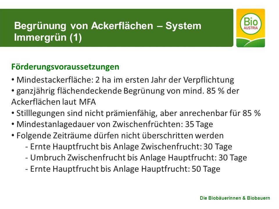 Die Biobäuerinnen & Biobauern Begrünung von Ackerflächen – System Immergrün (1) Förderungsvoraussetzungen Mindestackerfläche: 2 ha im ersten Jahr der Verpflichtung ganzjährig flächendeckende Begrünung von mind.