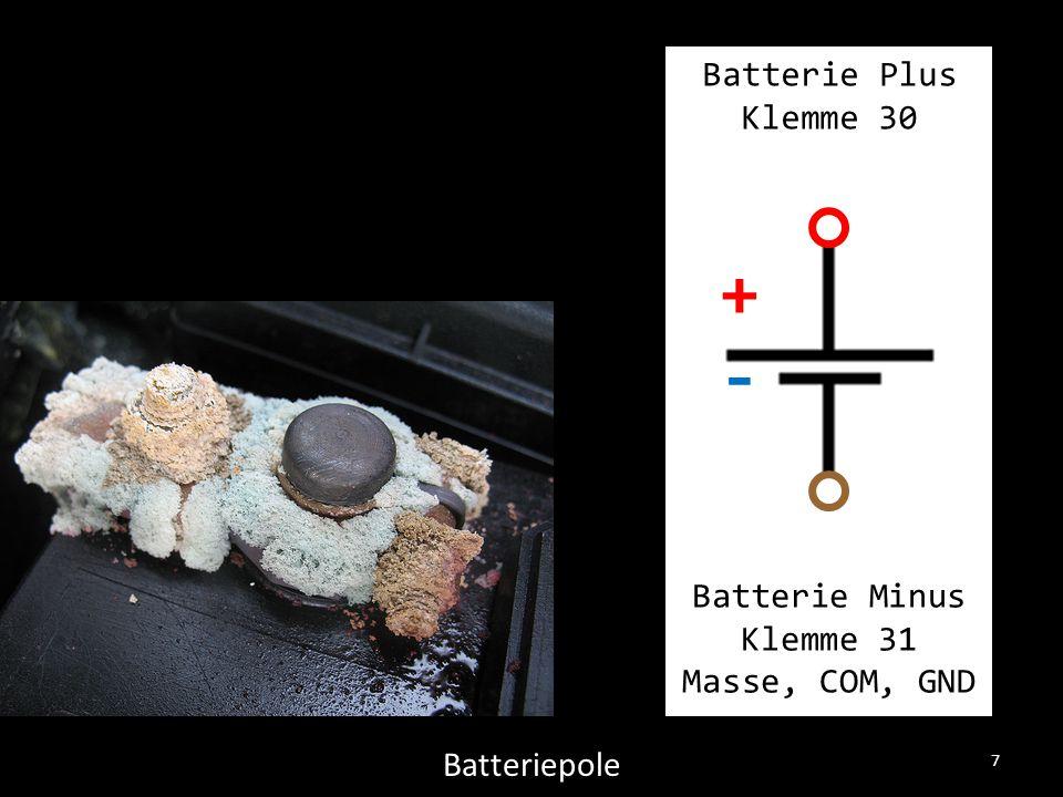 7 Batteriepole Batterie Plus Klemme 30 Batterie Minus Klemme 31 Masse, COM, GND +-+-