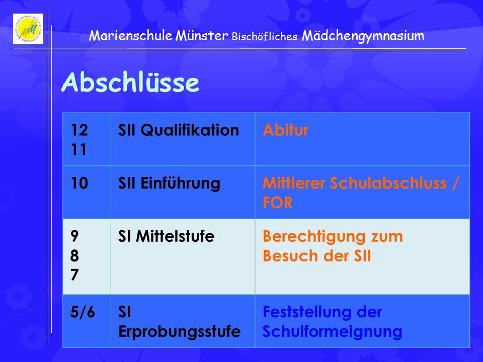 Gerwing-Frisch Marienschule Münster Bischöfliches Mädchengymnasium Abschlüsse 12 11 SII QualifikationAbitur 10SII EinführungMittlerer Schulabschluss / FOR 987987 SI MittelstufeBerechtigung zum Besuch der SII 5/6SI Erprobungsstufe Feststellung der Schulformeignung