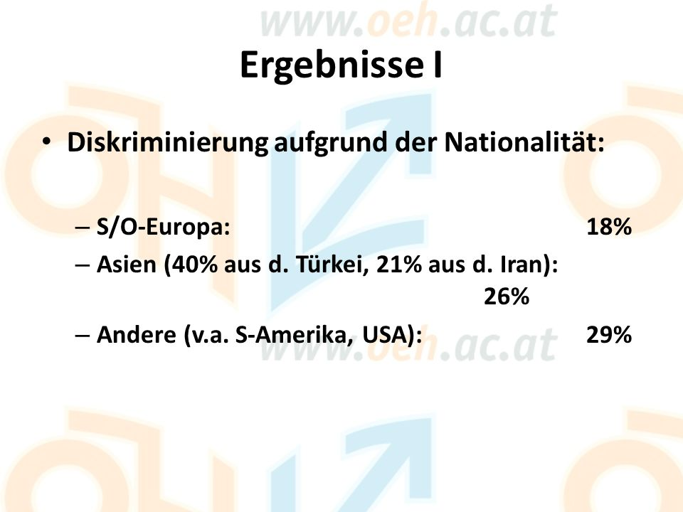 Ergebnisse I Diskriminierung aufgrund der Nationalität: – S/O-Europa: 18% – Asien (40% aus d.