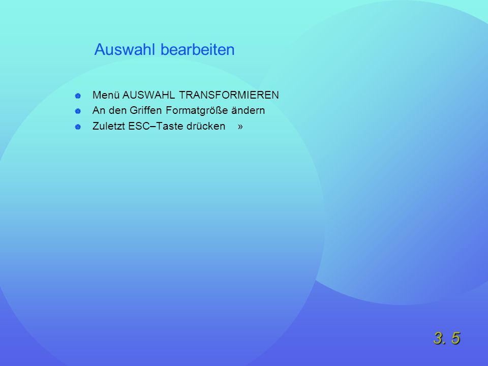 3. 5 Auswahl bearbeiten  Menü AUSWAHL TRANSFORMIEREN  An den Griffen Formatgröße ändern  Zuletzt ESC–Taste drücken »
