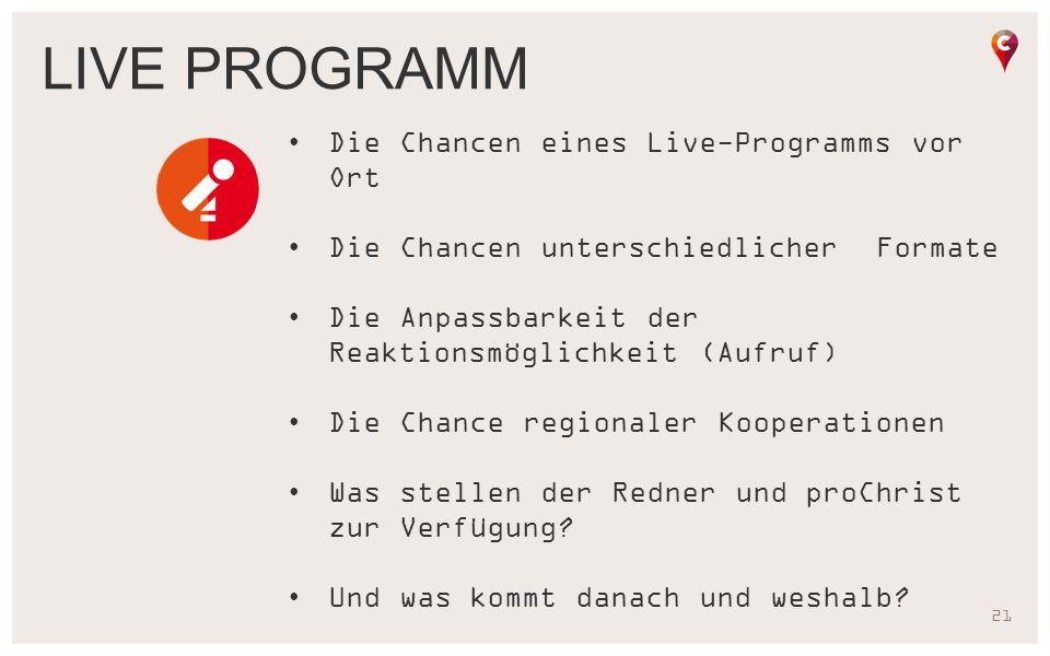 21 Die Chancen eines Live-Programms vor Ort Die Chancen unterschiedlicher Formate Die Anpassbarkeit der Reaktionsmöglichkeit (Aufruf) Die Chance regio