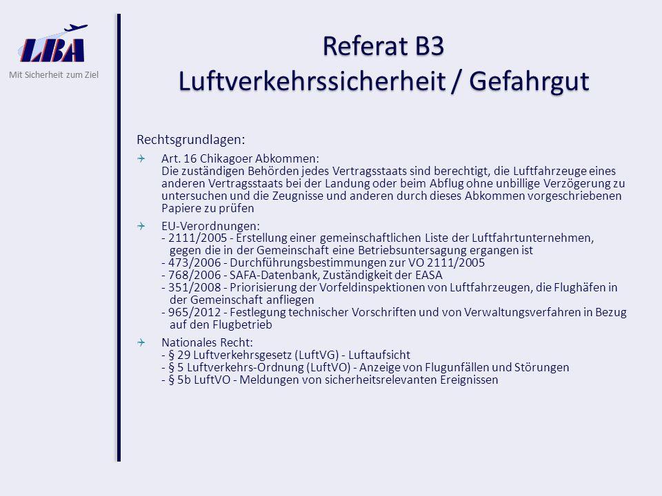 Mit Sicherheit zum Ziel Referat B3 Luftverkehrssicherheit / Gefahrgut Rechtsgrundlagen:  Art.