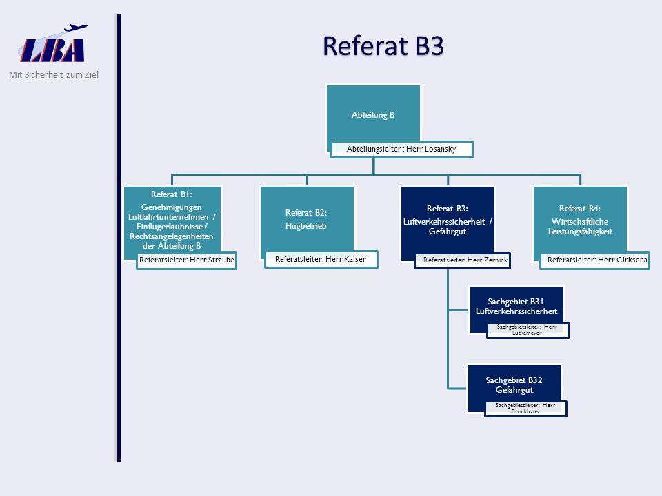 Mit Sicherheit zum Ziel Referat B3 Luftverkehrssicherheit / Gefahrgut Sachgebiet B31 - Luftverkehrssicherheit  Durchführung von Vorfeldkontrollen auf deutschen Flughäfen an Luftfahrzeugen  Überprüfung ausländischer Luftfahrtunternehmen bei Erteilung einer Einfluggenehmigung  Genehmigung des Allwetterflugbetriebes für ausländische Luftfahrtunternehmen  SAFA Datenbank - Betreuung und Vertretung bei der EASA