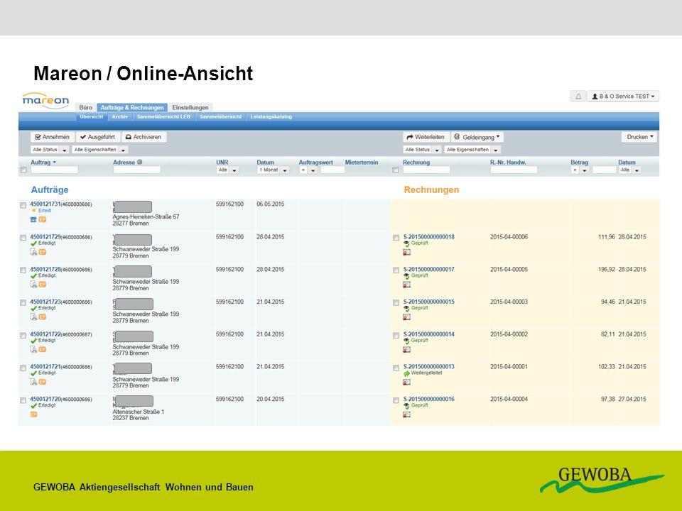 Mareon / Online-Ansicht GEWOBA Aktiengesellschaft Wohnen und Bauen