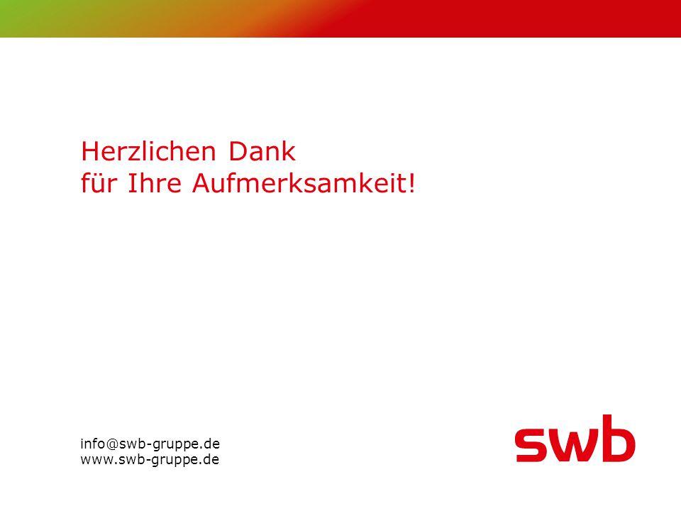 Herzlichen Dank für Ihre Aufmerksamkeit! info@swb-gruppe.de www.swb-gruppe.de