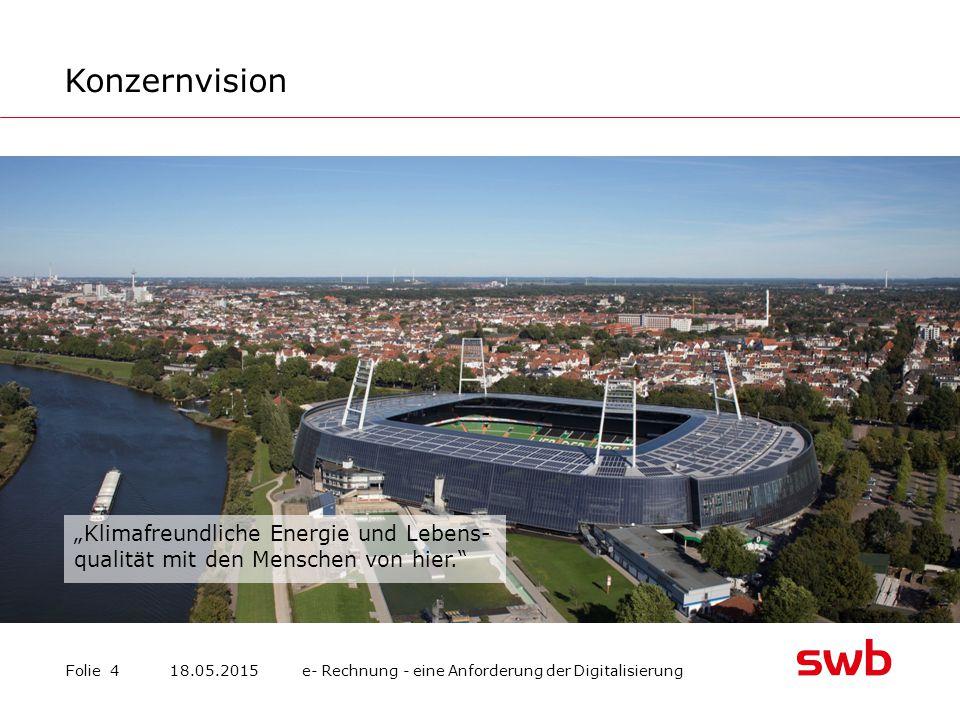 swb im Überblick Folie 518.05.2015 e- Rechnung - eine Anforderung der Digitalisierung Energie- und Trinkwasser swb Vertrieb Bremen GmbH swb Vertrieb Bremerhaven GmbH & Co.