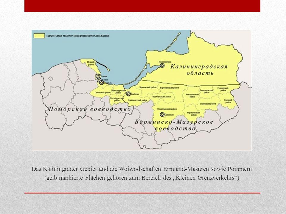 """Das Kaliningrader Gebiet und die Woiwodschaften Ermland-Masuren sowie Pommern (gelb markierte Flächen gehören zum Bereich des """"Kleinen Grenzverkehrs )"""