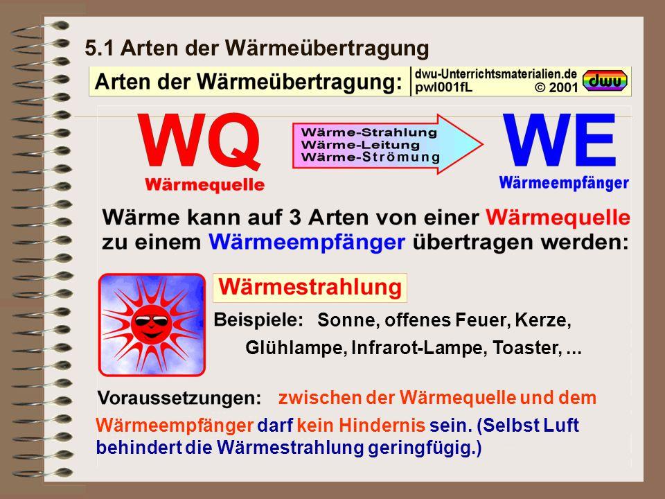5.1 Arten der Wärmeübertragung Sonne, offenes Feuer, Kerze, Glühlampe, Infrarot-Lampe, Toaster,...