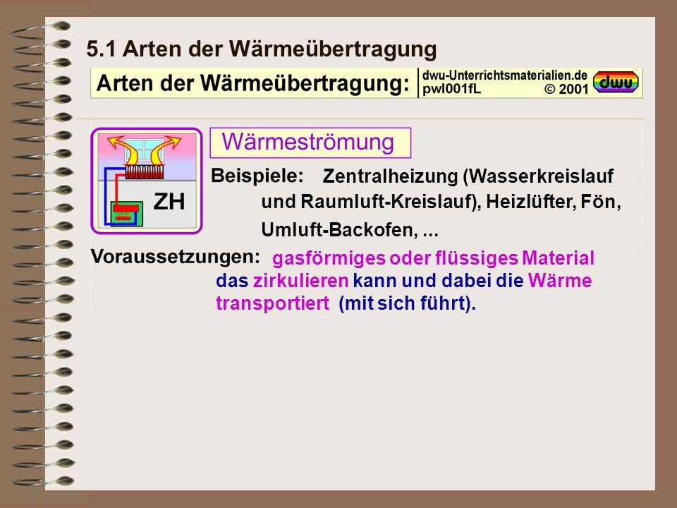 5.1 Arten der Wärmeübertragung Zentralheizung (Wasserkreislauf und Raumluft-Kreislauf), Heizlüfter, Fön, Umluft-Backofen,... gasförmiges oder flüssige