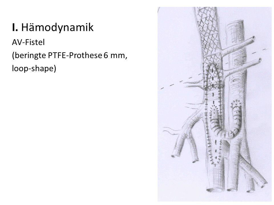 I. Hämodynamik AV-Fistel (beringte PTFE-Prothese 6 mm, loop-shape)
