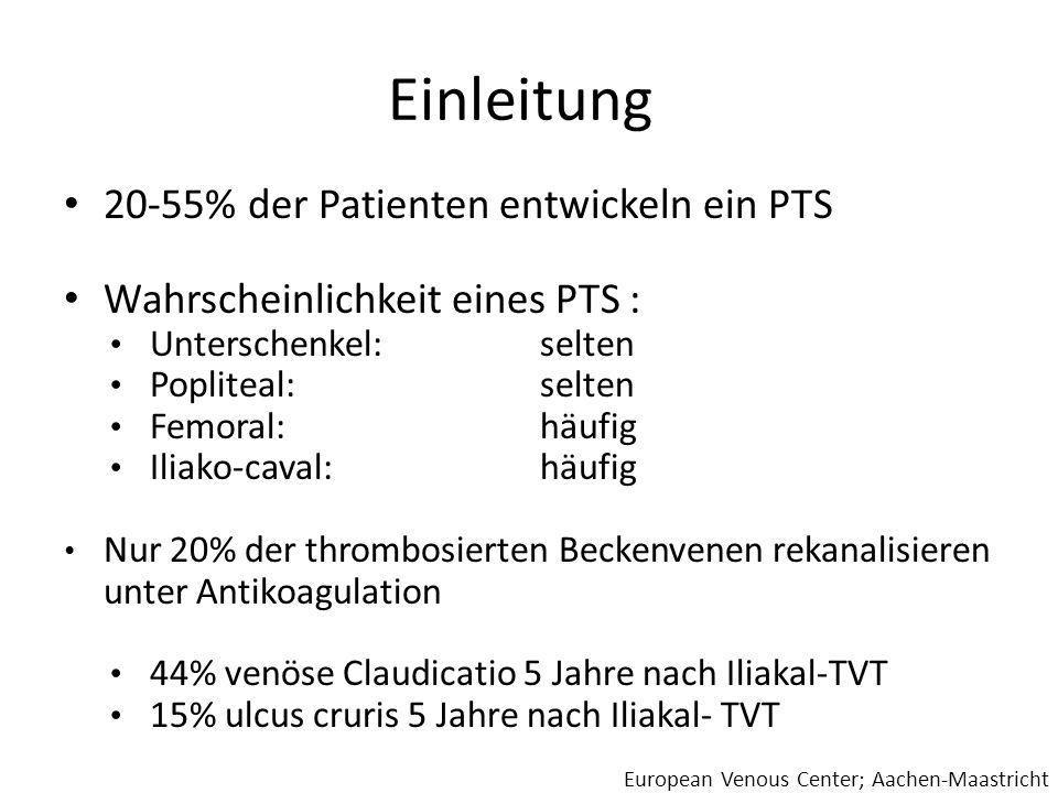 Einleitung 20-55% der Patienten entwickeln ein PTS Wahrscheinlichkeit eines PTS : Unterschenkel: selten Popliteal: selten Femoral: häufig Iliako-caval