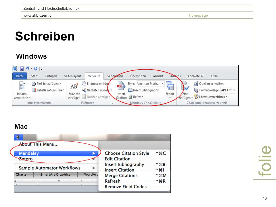 folie Zentral- und Hochschulbibliothek www.zhbluzern.chhomepage 10 Schreiben Windows Mac