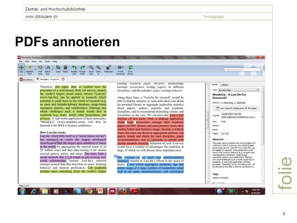 folie Zentral- und Hochschulbibliothek www.zhbluzern.chhomepage 9 PDFs annotieren