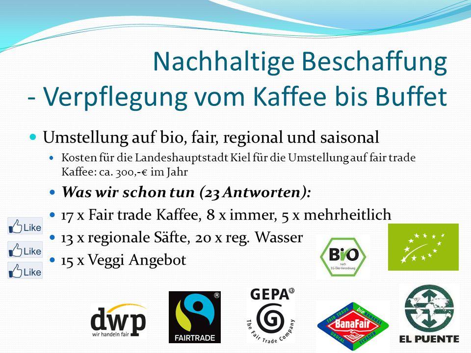 Nachhaltige Beschaffung - Verpflegung vom Kaffee bis Buffet Umstellung auf bio, fair, regional und saisonal Kosten für die Landeshauptstadt Kiel für die Umstellung auf fair trade Kaffee: ca.