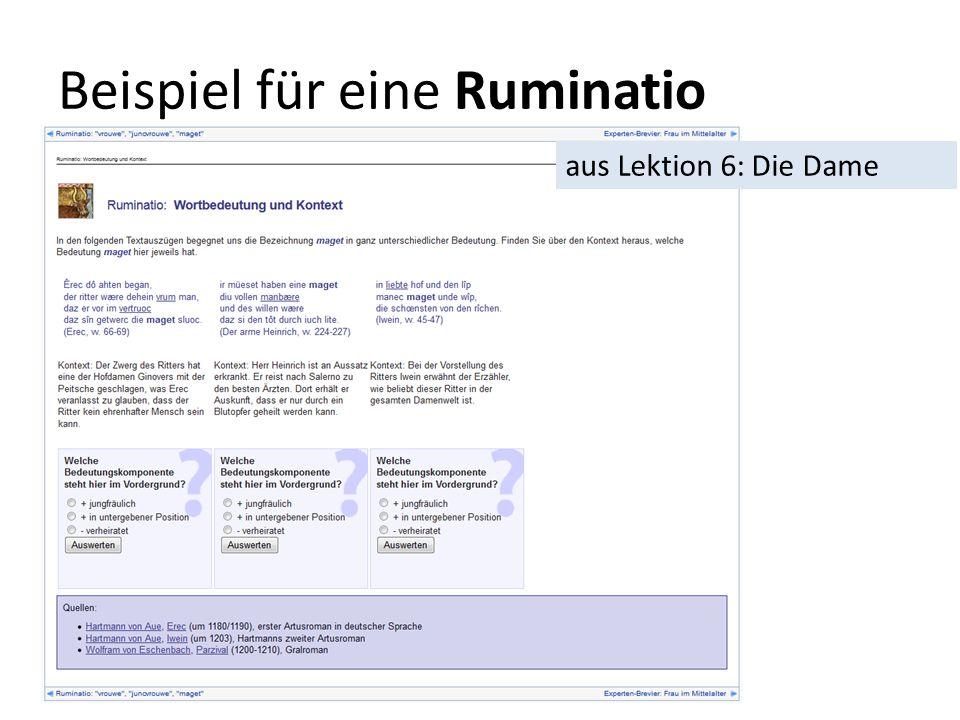 Beispiel für eine Ruminatio aus Lektion 6: Die Dame