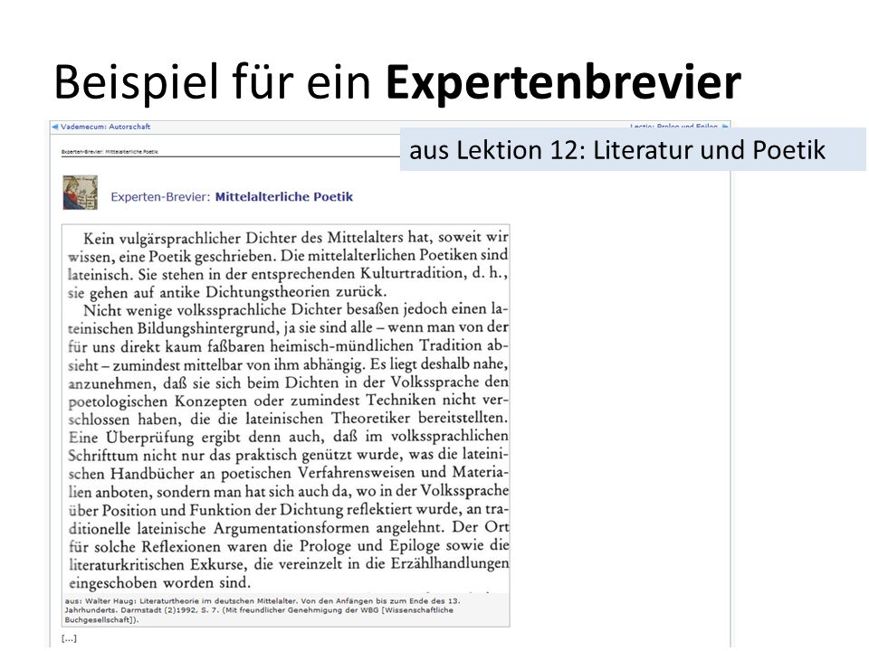 Beispiel für ein Expertenbrevier aus Lektion 12: Literatur und Poetik