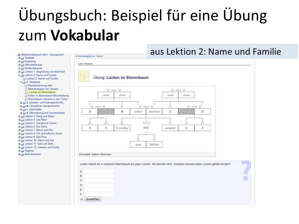 Übungsbuch: Beispiel für eine Übung zum Vokabular aus Lektion 2: Name und Familie