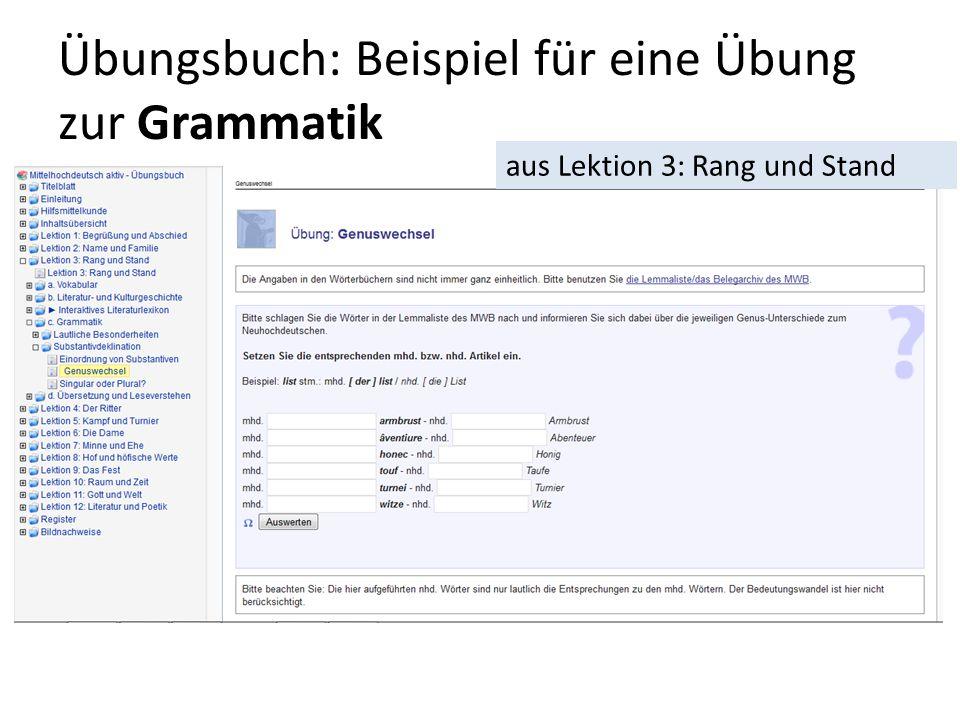 Übungsbuch: Beispiel für eine Übung zur Grammatik aus Lektion 3: Rang und Stand