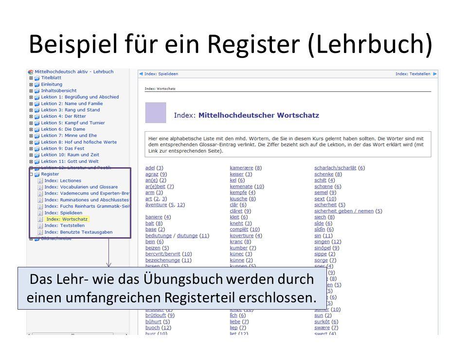 Beispiel für ein Register (Lehrbuch) Das Lehr- wie das Übungsbuch werden durch einen umfangreichen Registerteil erschlossen.