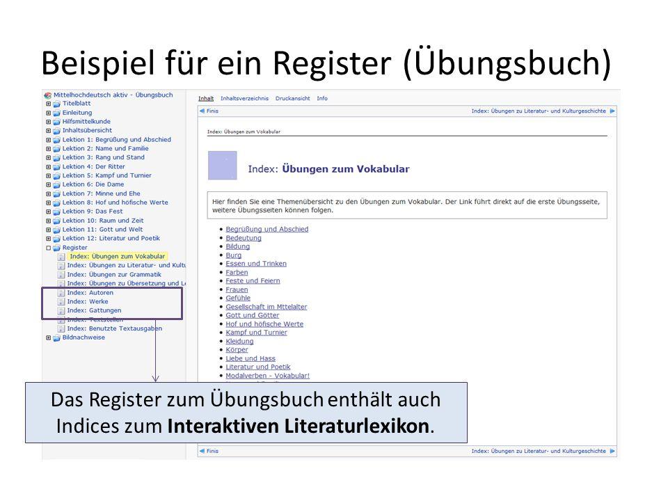 Beispiel für ein Register (Übungsbuch) Das Register zum Übungsbuch enthält auch Indices zum Interaktiven Literaturlexikon.
