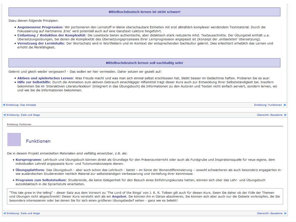 Aufbau: 12 Lektionen Sachlich-thematische Portionierung des Lernstoffes: Verzahnung von Spracherwerb und Erwerb der literarhistorischen Kompetenz!