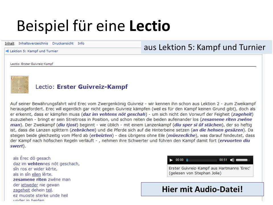 Beispiel für eine Lectio aus Lektion 5: Kampf und Turnier Hier mit Audio-Datei!