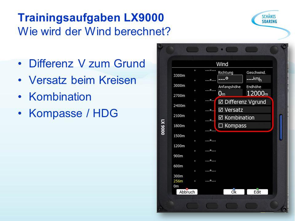 Trainingsaufgaben LX9000 Wie wird der Wind berechnet? Differenz V zum Grund Versatz beim Kreisen Kombination Kompasse / HDG