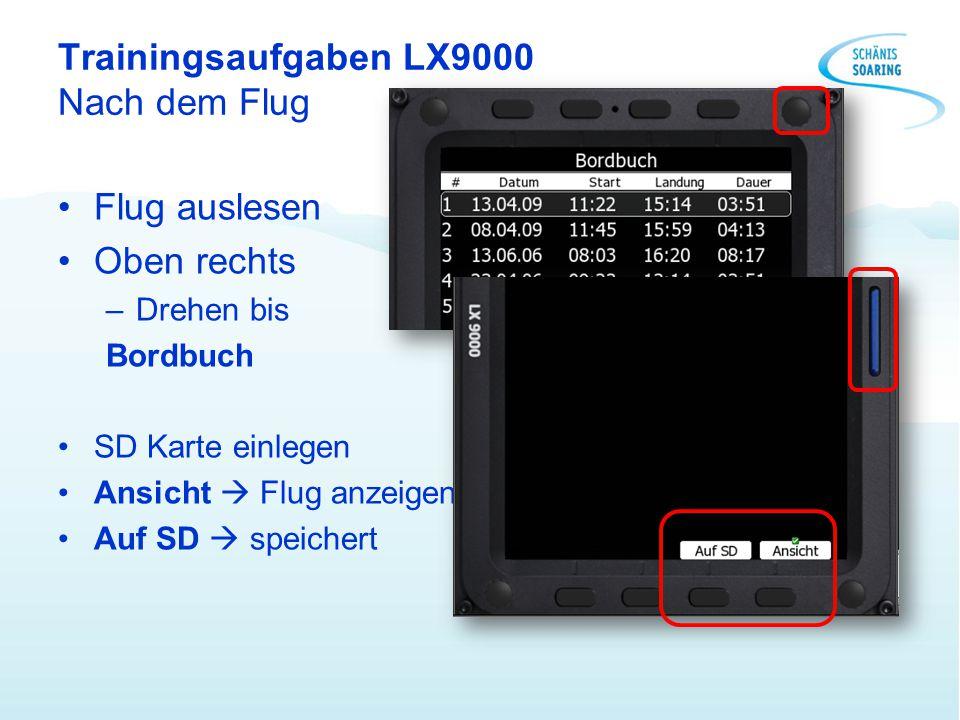 Trainingsaufgaben LX9000 Nach dem Flug Flug auslesen Oben rechts –Drehen bis Bordbuch SD Karte einlegen Ansicht  Flug anzeigen Auf SD  speichert