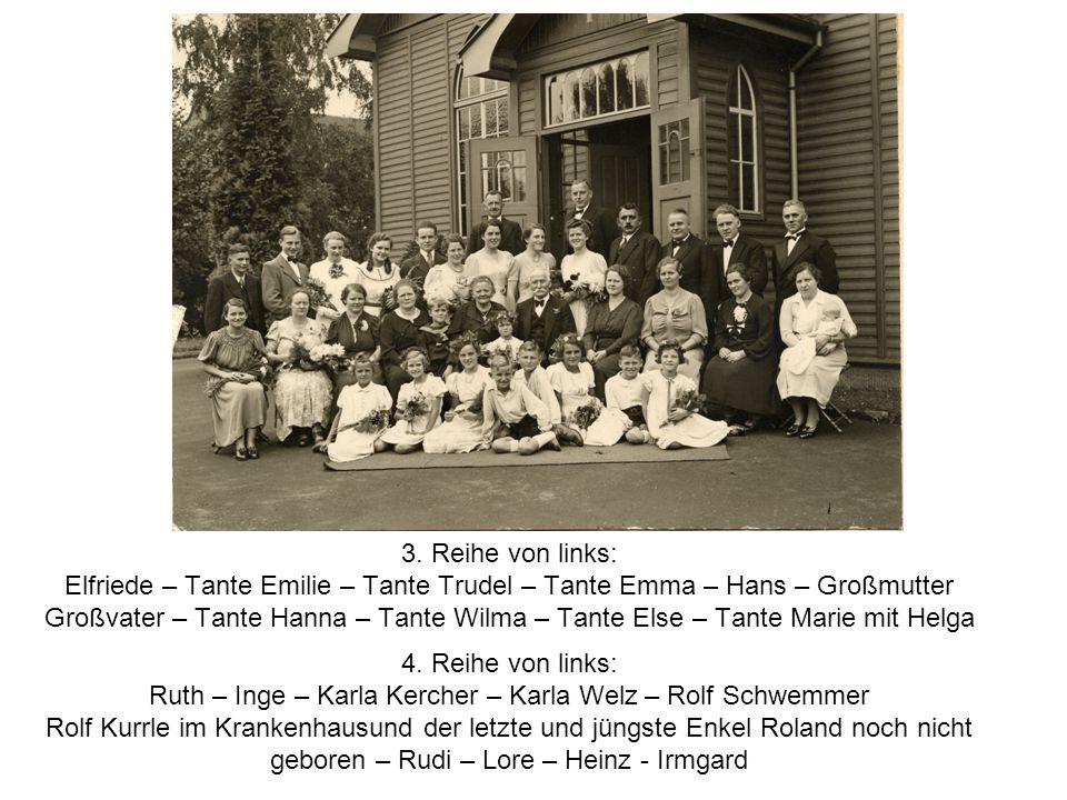 3. Reihe von links: Elfriede – Tante Emilie – Tante Trudel – Tante Emma – Hans – Großmutter Großvater – Tante Hanna – Tante Wilma – Tante Else – Tante