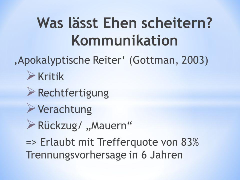 """Was lässt Ehen scheitern? Kommunikation 'Apokalyptische Reiter' (Gottman, 2003)  Kritik  Rechtfertigung  Verachtung  Rückzug/ """"Mauern"""" => Erlaubt"""