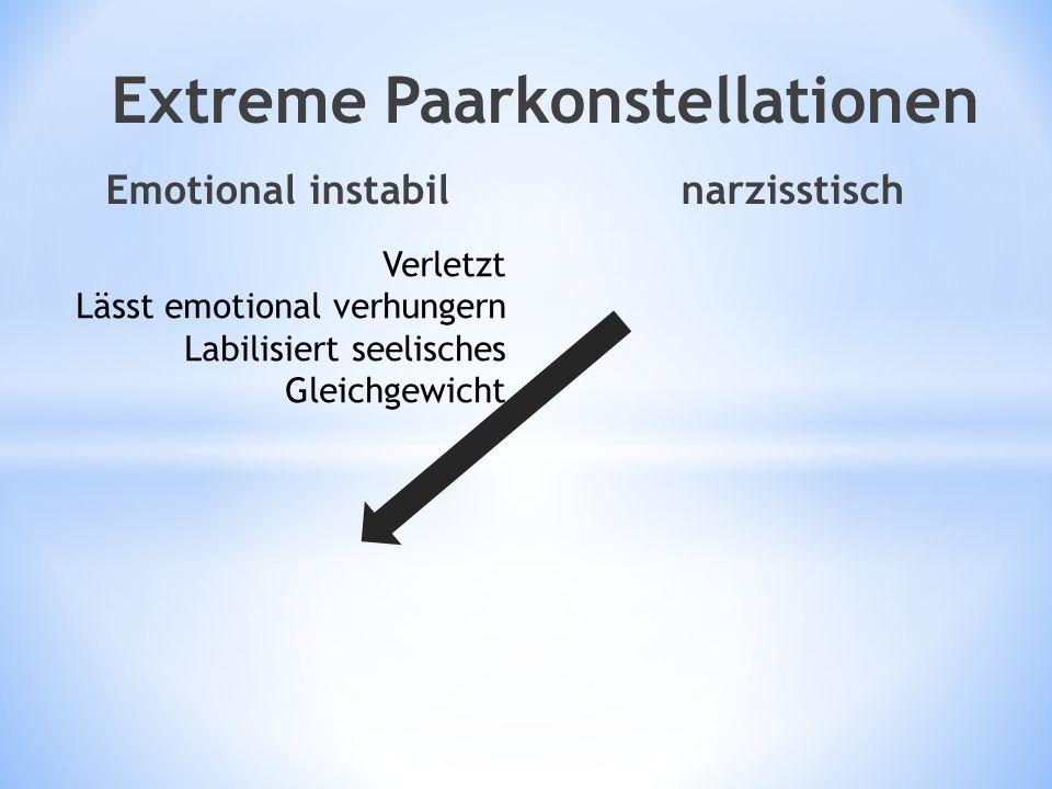 Emotional instabil narzisstisch Extreme Paarkonstellationen Verletzt Lässt emotional verhungern Labilisiert seelisches Gleichgewicht