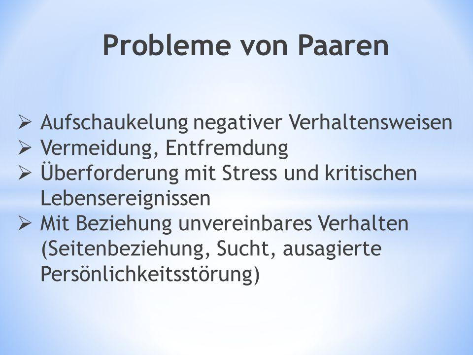  Aufschaukelung negativer Verhaltensweisen  Vermeidung, Entfremdung  Überforderung mit Stress und kritischen Lebensereignissen  Mit Beziehung unve