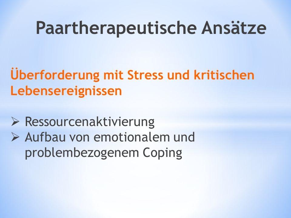 Überforderung mit Stress und kritischen Lebensereignissen  Ressourcenaktivierung  Aufbau von emotionalem und problembezogenem Coping Paartherapeutis