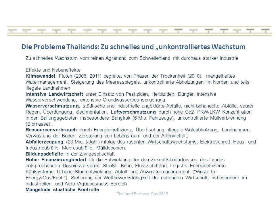 """Thailand Business Day 2015 Die Probleme Thailands: Zu schnelles und """"unkontrolliertes Wachstum Zu schnelles Wachstum vom reinen Agrarland zum Schwellenland mit durchaus starker Industrie Effekte und Nebeneffekte Klimawandel, Fluten (2006, 2011) begleitet von Phasen der Trockenheit (2010), mangelhaftes Watermanagement, Steigerung des Meeresspiegels, unkontrollierte Abholzungen im Norden und teils illegale Landnahmen Intensive Landwirtschaft unter Einsatz von Pestiziden, Herbiziden, Dünger, intensive Wasserverschwendung, extensive Grundwasserbeanspruchung Wasserverschmutzung, städtische und industrielle ungeklärte Abfälle, nicht behandelte Abfälle, saurer Regen, Überdüngung, Sedimentation, Luftverschmutzung durch hohe Co2- PKW/LKW Konzentration in den Ballungsgebieten insbesondere Bangkok (6 Mio."""