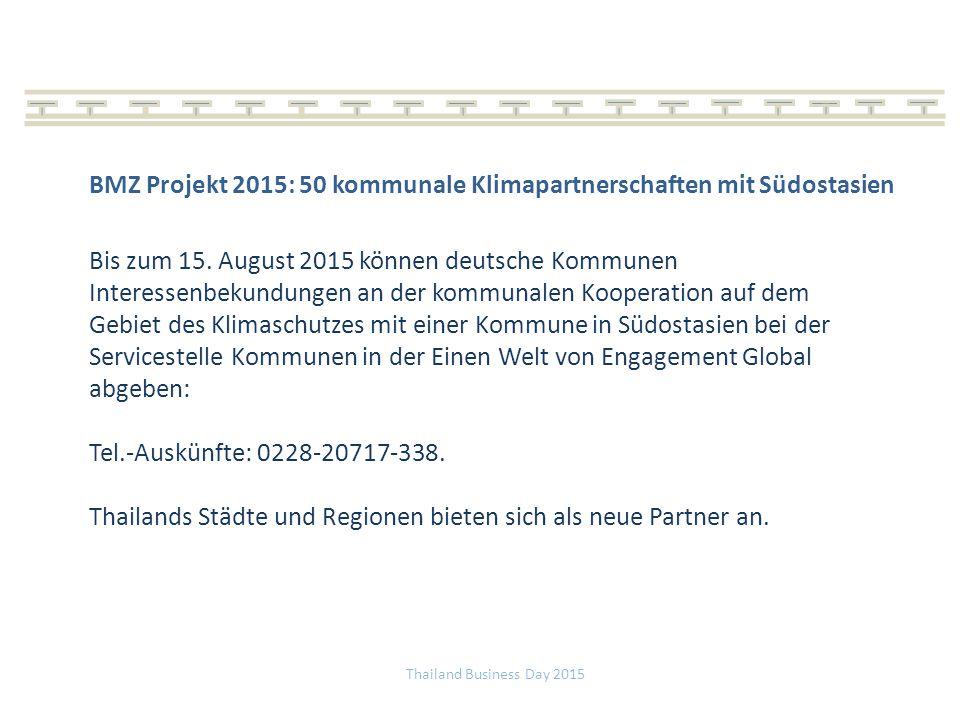 BMZ Projekt 2015: 50 kommunale Klimapartnerschaften mit Südostasien Bis zum 15.
