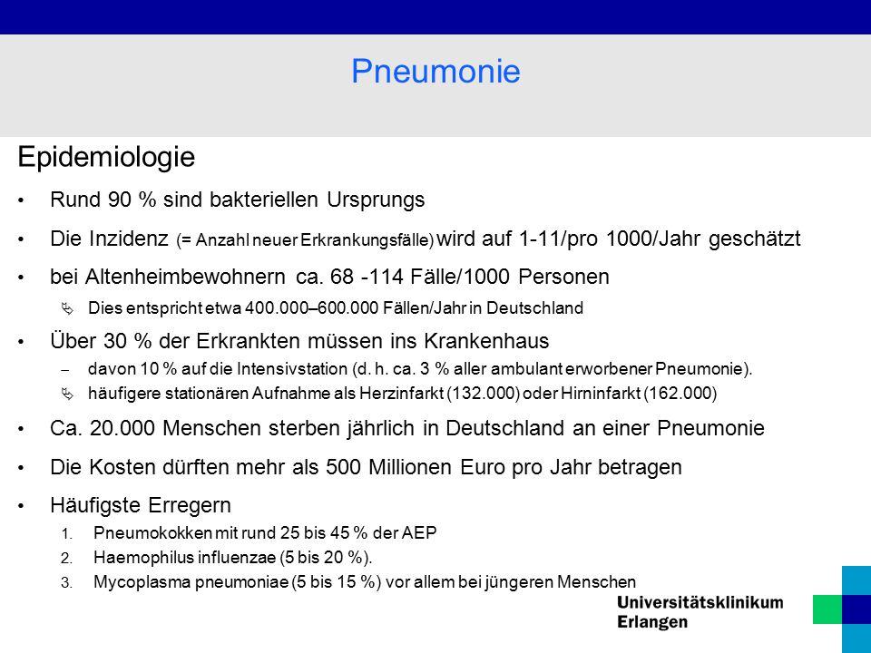 Epidemiologie Rund 90 % sind bakteriellen Ursprungs Die Inzidenz (= Anzahl neuer Erkrankungsfälle) wird auf 1-11/pro 1000/Jahr geschätzt bei Altenheim