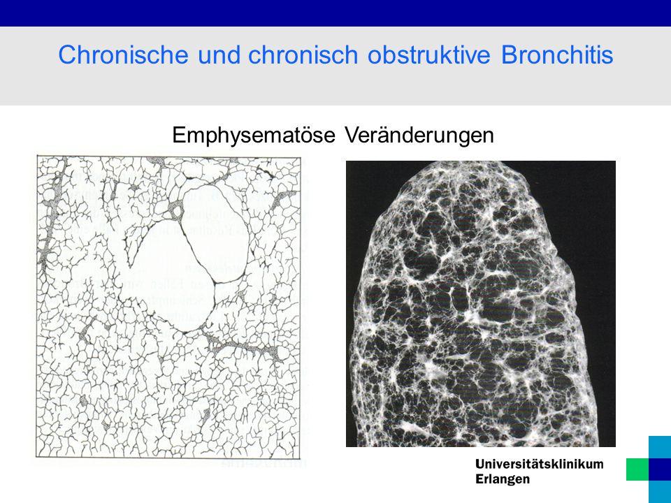 Emphysematöse Veränderungen Chronische und chronisch obstruktive Bronchitis