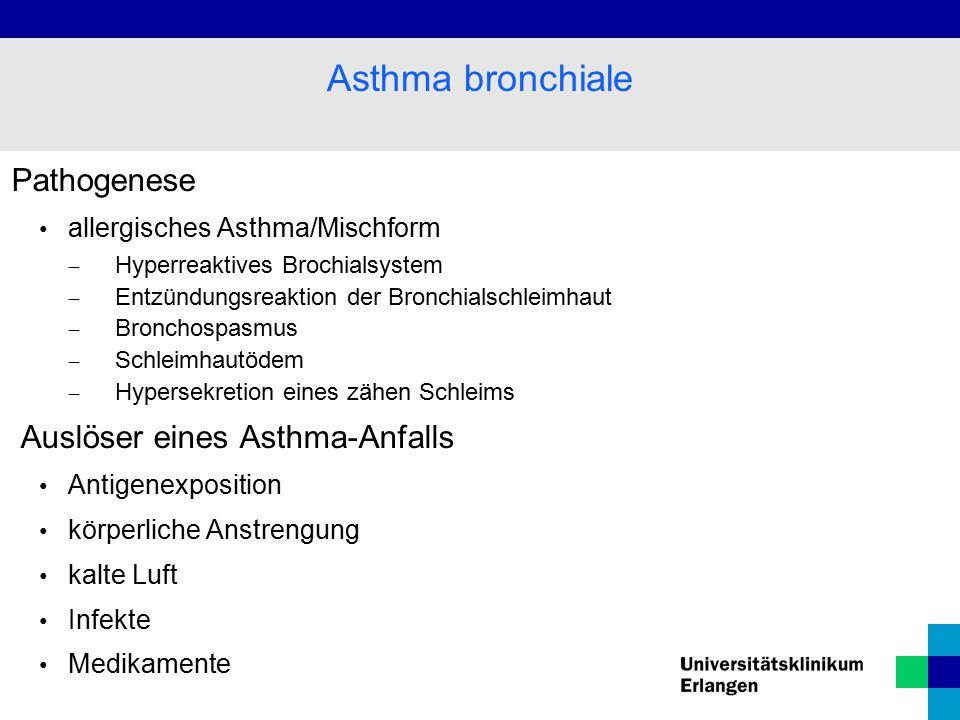 Pathogenese allergisches Asthma/Mischform  Hyperreaktives Brochialsystem  Entzündungsreaktion der Bronchialschleimhaut  Bronchospasmus  Schleimhautödem  Hypersekretion eines zähen Schleims Auslöser eines Asthma-Anfalls Antigenexposition körperliche Anstrengung kalte Luft Infekte Medikamente Asthma bronchiale