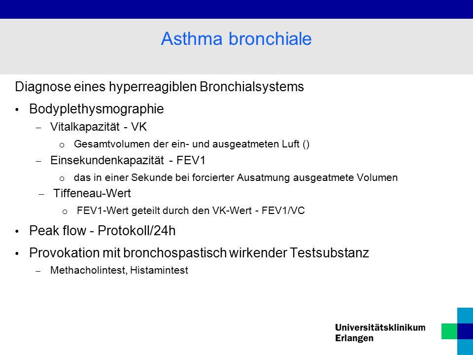 Diagnose eines hyperreagiblen Bronchialsystems Bodyplethysmographie  Vitalkapazität - VK o Gesamtvolumen der ein- und ausgeatmeten Luft ()  Einsekundenkapazität - FEV1 o das in einer Sekunde bei forcierter Ausatmung ausgeatmete Volumen  Tiffeneau-Wert o FEV1-Wert geteilt durch den VK-Wert - FEV1/VC Peak flow - Protokoll/24h Provokation mit bronchospastisch wirkender Testsubstanz  Methacholintest, Histamintest Asthma bronchiale