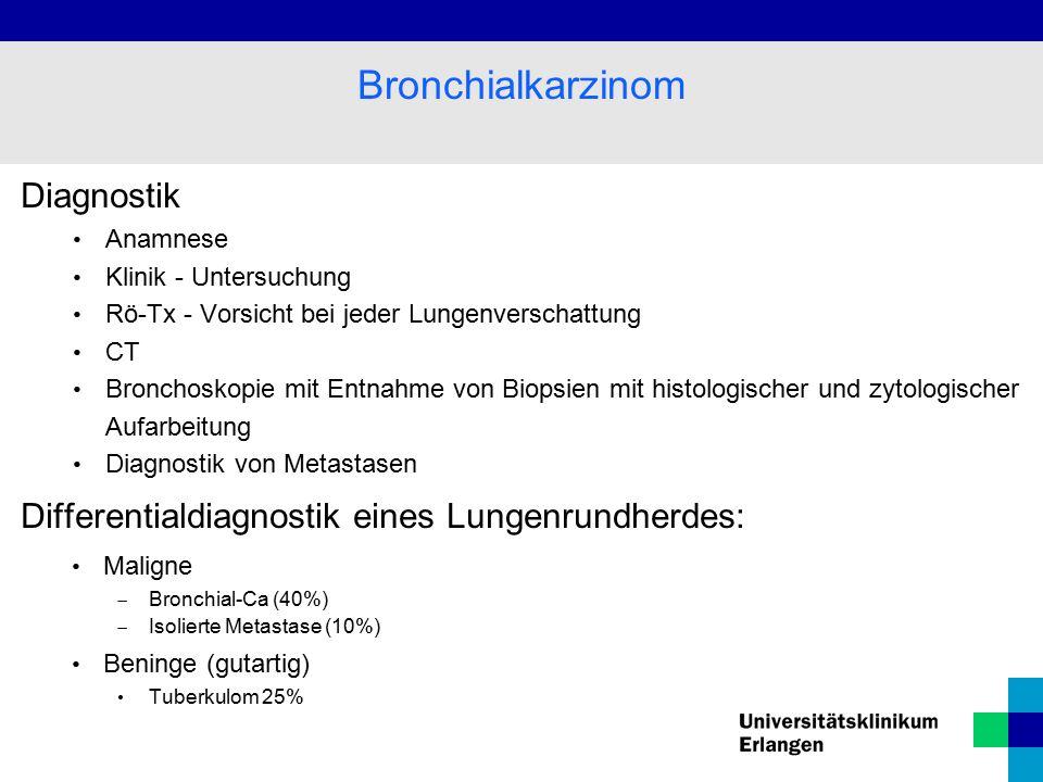 Diagnostik Anamnese Klinik - Untersuchung Rö-Tx - Vorsicht bei jeder Lungenverschattung CT Bronchoskopie mit Entnahme von Biopsien mit histologischer und zytologischer Aufarbeitung Diagnostik von Metastasen Differentialdiagnostik eines Lungenrundherdes: Maligne  Bronchial-Ca (40%)  Isolierte Metastase (10%) Beninge (gutartig) Tuberkulom 25% Bronchialkarzinom