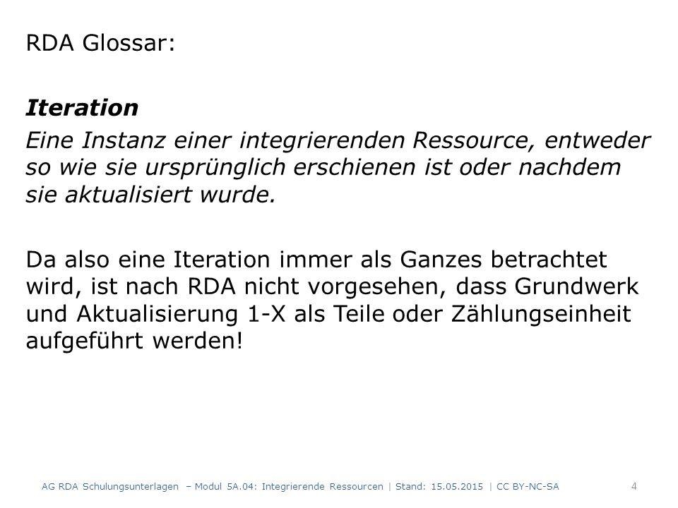 15 RDAElementErfassung 2.8.6.5Erscheinungsdatum2002-2009 2.17.13.4 Anmerkung: Iteration, die als Grundlage für die Identifizierung einer integrierenden Ressource verwendet wird Identifizierung der Ressource nach: Aktualisierungslieferung Dezember 2009 3.4.5.19Umfang2 Bände (Loseblattsammlung) AG RDA Schulungsunterlagen – Modul 5A.04: Integrierende Ressourcen | Stand: 15.05.2015 | CC BY-NC-SA Beispiel: Update nach letzter erschienener Aktualisierung