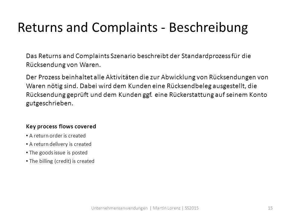 Das Returns and Complaints Szenario beschreibt der Standardprozess für die Rücksendung von Waren. Der Prozess beinhaltet alle Aktivitäten die zur Abwi