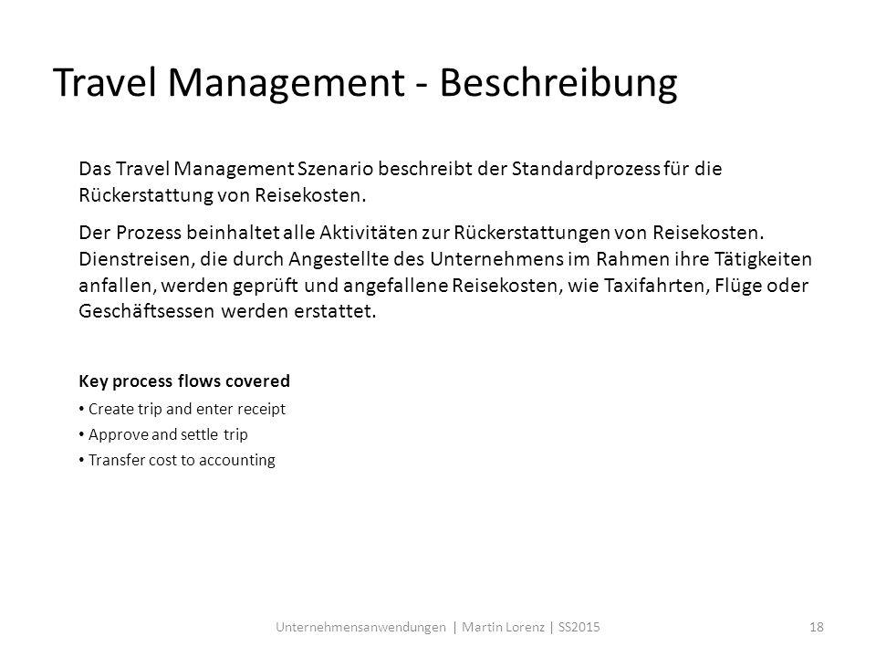 Das Travel Management Szenario beschreibt der Standardprozess für die Rückerstattung von Reisekosten. Der Prozess beinhaltet alle Aktivitäten zur Rück
