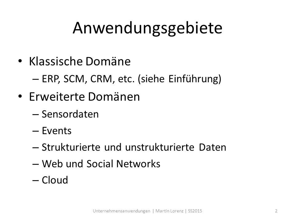 Anwendungsgebiete Klassische Domäne – ERP, SCM, CRM, etc. (siehe Einführung) Erweiterte Domänen – Sensordaten – Events – Strukturierte und unstrukturi