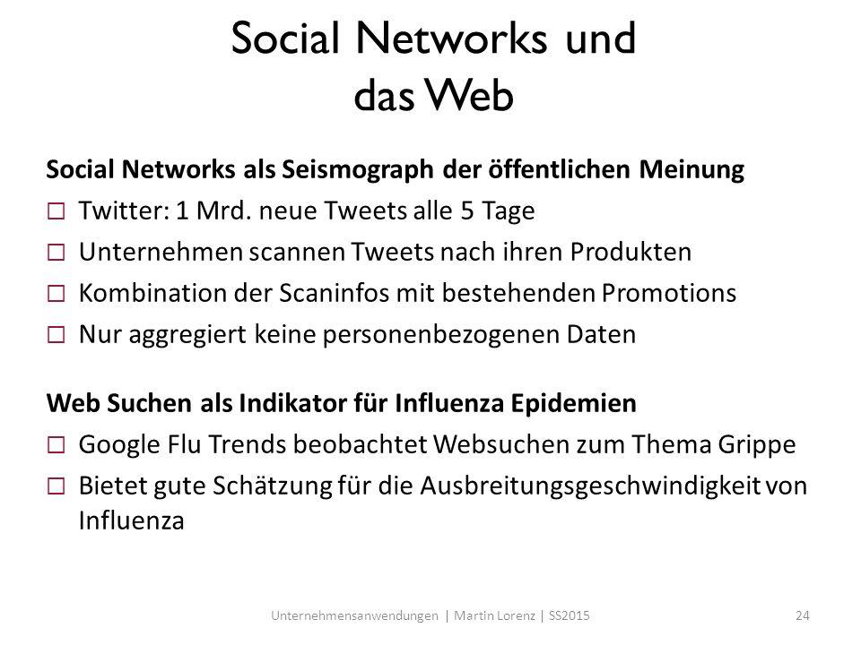 Social Networks und das Web Social Networks als Seismograph der öffentlichen Meinung  Twitter: 1 Mrd. neue Tweets alle 5 Tage  Unternehmen scannen T